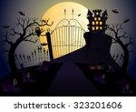 castle and full moon vector...   Shutterstock .eps vector #323201606