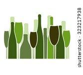 wine glasses and bottles... | Shutterstock .eps vector #323217938