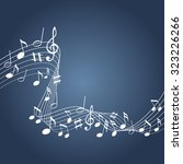 music notes on a blue background   Shutterstock .eps vector #323226266