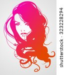 vector stylish   portrait with... | Shutterstock .eps vector #323228294