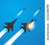 military jets shooting at... | Shutterstock .eps vector #323238098