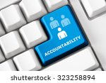 Small photo of Smart keyboard with personal efficacy symbol set. Accountability, productivity and success concept. Design elements of corporate management, business efficiency. Collection of personal efficacy signs