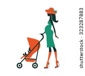Fashion Mom With Baby In Pram...