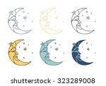 crescent moon in profile with...