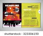 layout magazine. editable... | Shutterstock .eps vector #323306150