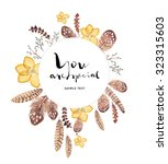 watercolor greeting card.... | Shutterstock . vector #323315603