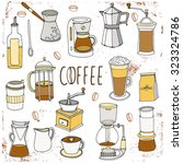 coffee collection isolated on...   Shutterstock .eps vector #323324786