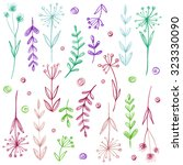set of flowers drawn in colored ... | Shutterstock . vector #323330090