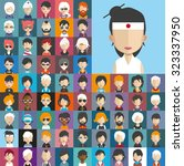 set of people icons in flat... | Shutterstock .eps vector #323337950