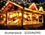 illuminated christmas fair... | Shutterstock . vector #323346590