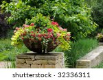 Container Garden On Stone Wall. ...