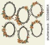 set of vintage oval frames... | Shutterstock .eps vector #323368814