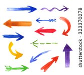 set of watercolor comic arrows. ... | Shutterstock . vector #323370278