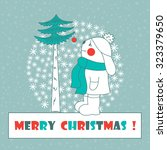 christmas card. hare with... | Shutterstock .eps vector #323379650