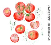 a whole tomatoes and a halves ... | Shutterstock . vector #323386964