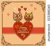 cute cartoon owls birds pattern ... | Shutterstock .eps vector #323388260