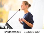 pretty  young business woman... | Shutterstock . vector #323389130