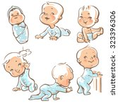 set with cute baby boys. ... | Shutterstock .eps vector #323396306