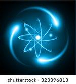 blue shining atom scheme....   Shutterstock .eps vector #323396813