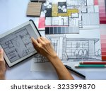 top view of architects  ... | Shutterstock . vector #323399870