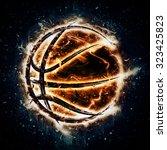 burning basketball | Shutterstock . vector #323425823