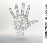 mesh polygonal background hand... | Shutterstock .eps vector #323427668
