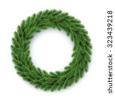 vector green christmas wreath ... | Shutterstock .eps vector #323439218