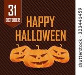 happy halloween card with... | Shutterstock .eps vector #323441459