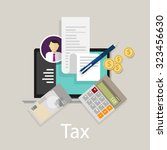 pay tax taxes money icon income ... | Shutterstock .eps vector #323456630