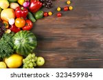 heap of fruits and vegetables... | Shutterstock . vector #323459984