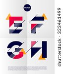 typographic alphabet in a set.... | Shutterstock .eps vector #323461499