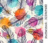 seamless pattern with feathers. ... | Shutterstock .eps vector #323469680