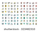flat line colorful icons... | Shutterstock .eps vector #323482310