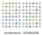 flat line colorful icons... | Shutterstock .eps vector #323482358