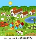 big set of rural farmer... | Shutterstock . vector #323484374