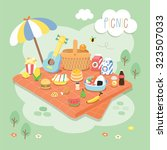picnic in the garden | Shutterstock .eps vector #323507033