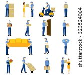 Delivery Flat Icons Set With...