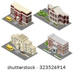 school building isometric icons ...