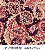 paisley seamless pattern with... | Shutterstock .eps vector #323529419