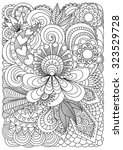 hand drawn zentangle floral... | Shutterstock .eps vector #323529728