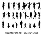 women and girl silhouettes. ... | Shutterstock .eps vector #32354203