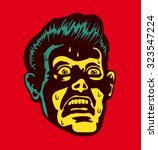 vintage frightened man with... | Shutterstock .eps vector #323547224