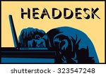 head desk  stressed businessman ... | Shutterstock .eps vector #323547248