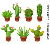 collection of abstract cactuses ... | Shutterstock .eps vector #323553338