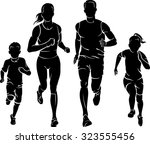 family fun run | Shutterstock .eps vector #323555456