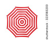 white umbrella with red stripes.... | Shutterstock .eps vector #323583203