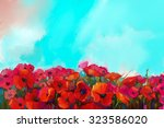 Colorful Red Poppy Flower In...