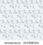 Fleur De Lys Pattern.  White...