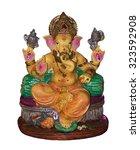 Small photo of Hindu God Ganesh on white background.