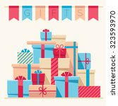 gifts flat style  vector... | Shutterstock .eps vector #323593970